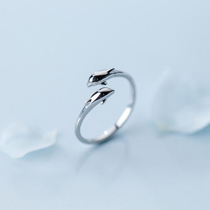 Sterling Double Dolphin Kiss Ring-seaxox.com