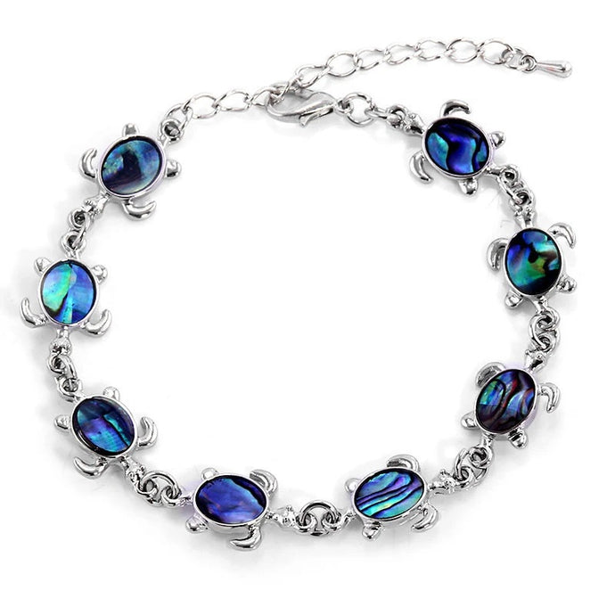 Save Sea Turtle Jewelry | Blue Rhinestone Sea Turtle Bracelet-seaxox.com