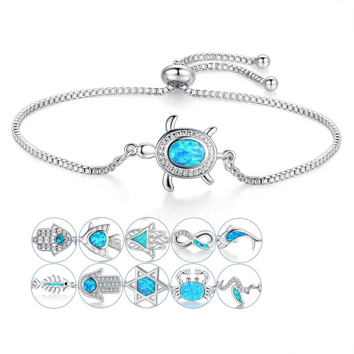 Save Ocean Animals Jewelry | Opal Silver Sea Turtle Bracelet 12 Styles