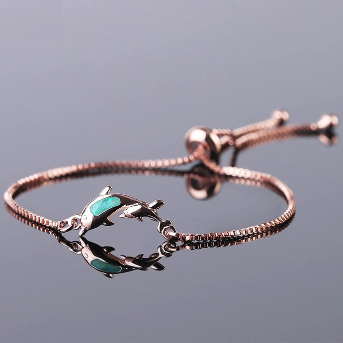 Save Ocean Animals Jewelry | Opal Dolphin Bracelet-seaxox.com