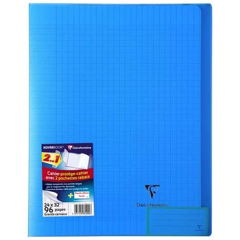 CLAIREFONTAINE Cahier Koverbook grands carreaux séyès - 24x32cm - bleu