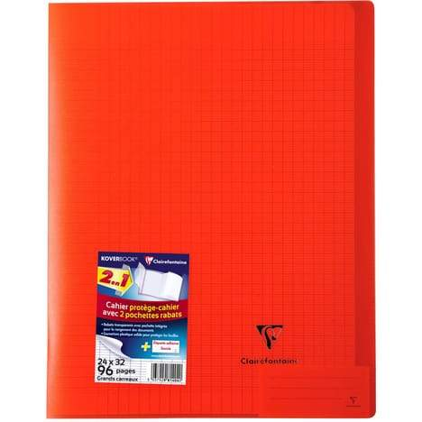 CLAIREFONTAINE Cahier Koverbook grands carreaux séyès - 24x32cm - rouge