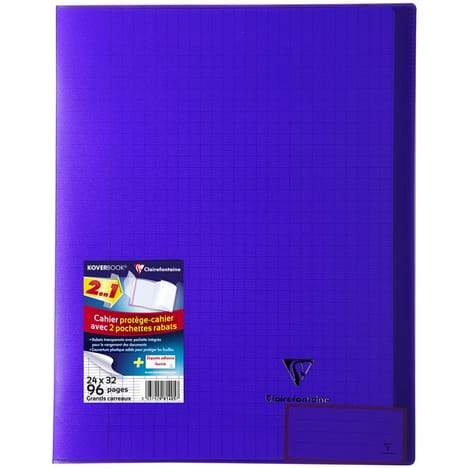 CLAIREFONTAINE Cahier Koverbook grands carreaux séyès - 24x32cm - violet