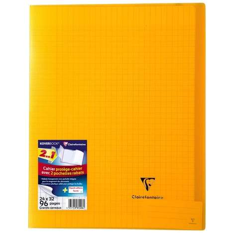 CLAIREFONTAINE Cahier Koverbook grands carreaux séyès - 24x32cm - jaune