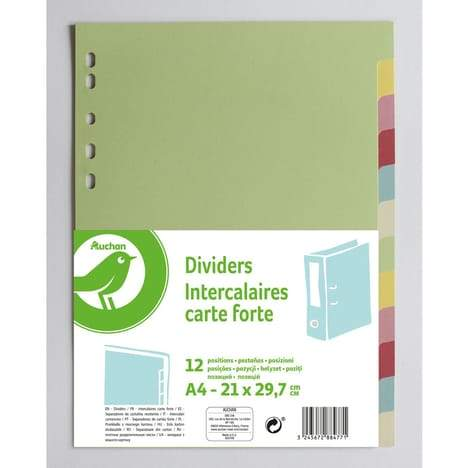 POUCE Intercalaires A4 21x29.7cm 12 positions carte forte