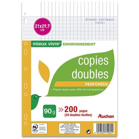 AUCHAN Lot de 50 copies doubles 21x29,7cm grands carreaux Seyes perforées