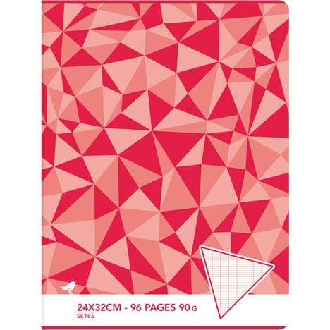 AUCHAN Cahier piqué 24x32cm 96 pages grands carreaux Seyes  motif triangles