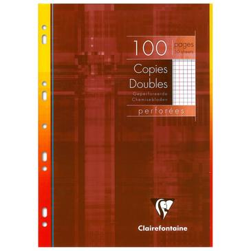 CLAIRE FONTAINE Copies doubles perf. s/étui 21x29,7 100p Q.5x5 + marge