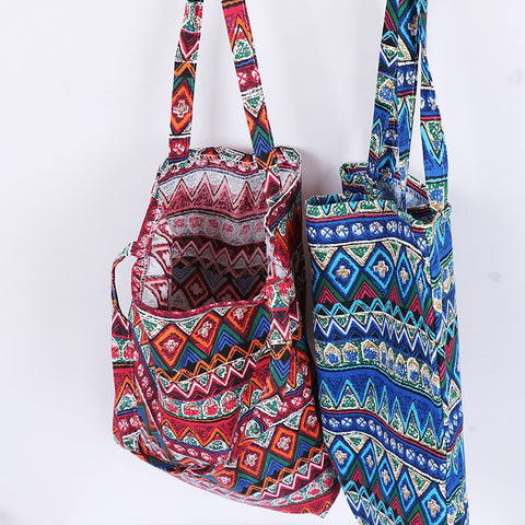 Ethnic style linen bag tote