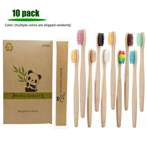 10 pack Multiple Colors Soft Fiber Bamboo Toothbrush
