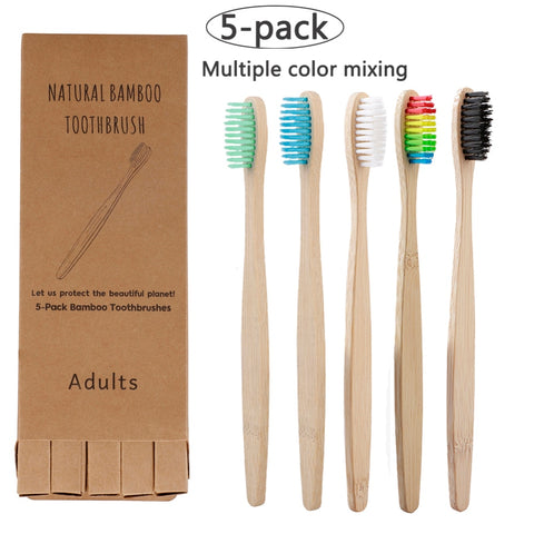 5pcs Eco Friendly Bamboo Toothbrush