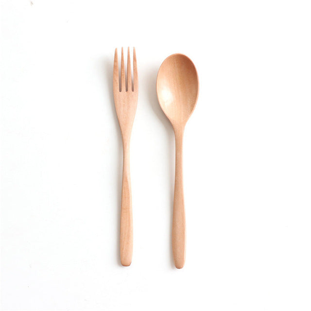 2PCS Natural Wooden Spoon & Fork