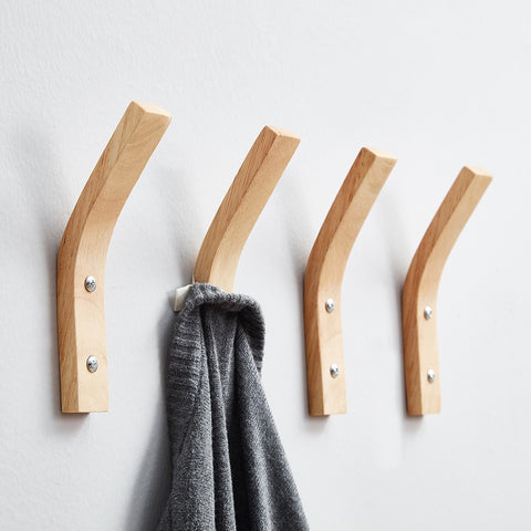 Natural Wall Mounted Wood Clothes Hook