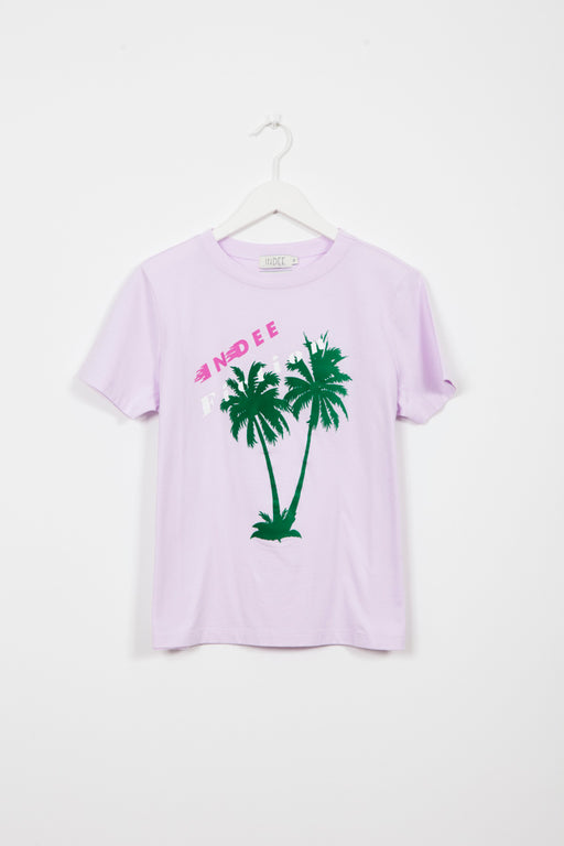GABY PALMS BLUSH PRINTED T-SHIRT