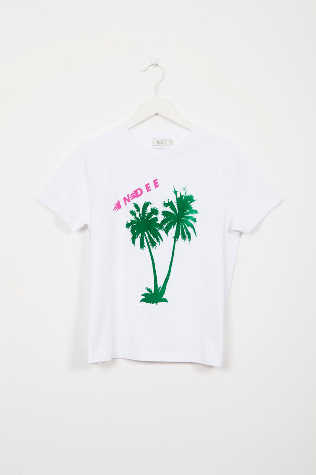 GABY PALMS WHITE PRINTED T-SHIRT