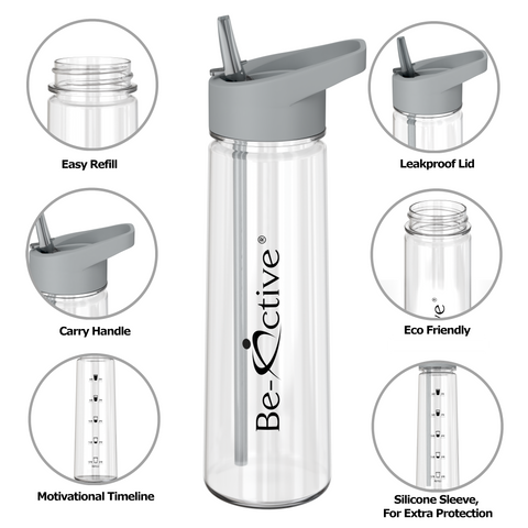 Motivational Tracker Water Bottle 900ml - Grey