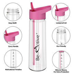 Motivational Tracker Water Bottle 900ml - Pink