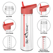 Motivational Tracker Water Bottle 900ml - Coral