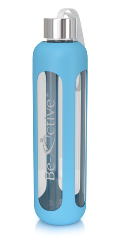Glass Water Bottle Blue 1000ml