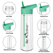 Motivational Tracker Water Bottle 900ml - Green