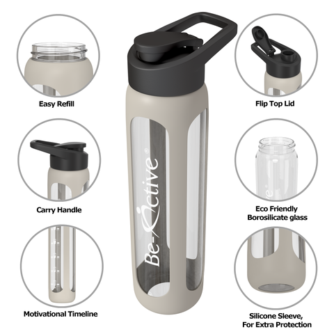 Flip Top Glass Motivational Water Bottle Grey 700ml