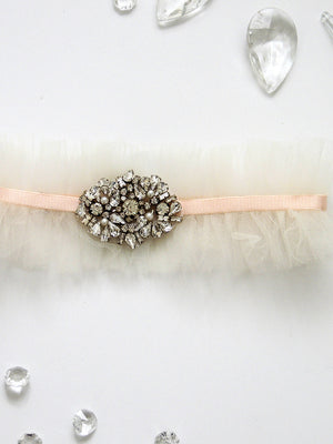 Charlotte Single Layer Tulle Adjustable Garter