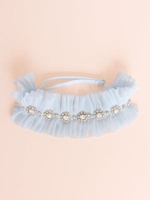 Alexandra silk chiffon adjustable wedding garter in powder blue with hand stitched rhinestone banding, mamie + james, something blue
