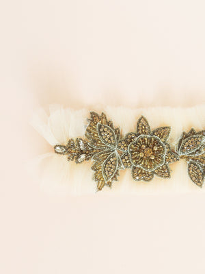 Fleur Adjustable Garter in Gold