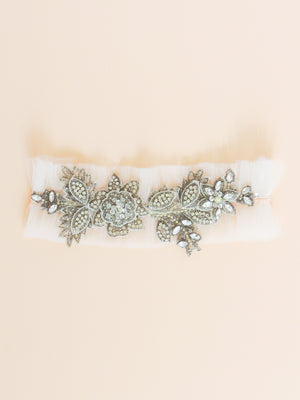 Fleur Adjustable Garter in Silver
