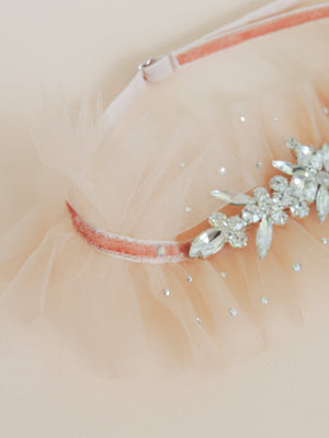 odette adjustable wedding garter with velvet banding and italian tulle with rhinestone adornment and scattered swarovski crystals scattered