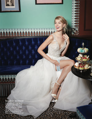 Mamie + James' Alexandra adjustable wedding garter in powder blue silk chiffon as featured in The Knot Magazine
