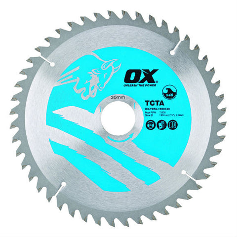 OX Alu/Plastic/Laminate Cutting Circular Saw Blade 184/20mm, 48 Teeth TCG - Extra Fine Finish
