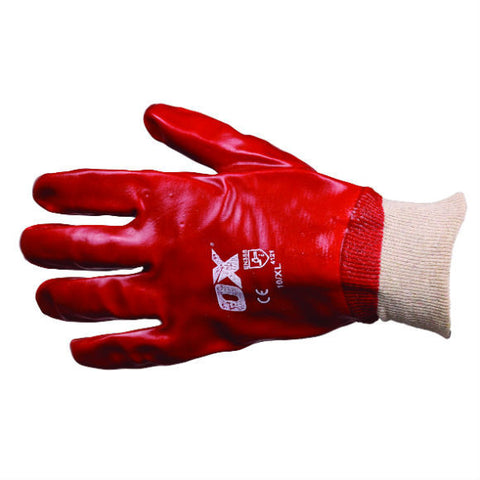 RED PVC KNIT WRIST GLOVES - Available in 2 Sizes
