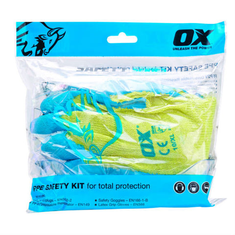 POLY SAFETY KIT- 1 x FFP2 MASKS, EAR PLUGS, GRIP GLOVES, SAFETY GOGGLES