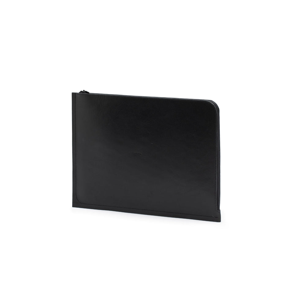 "C4 Leather Laptop 12"" Case Solid Black"