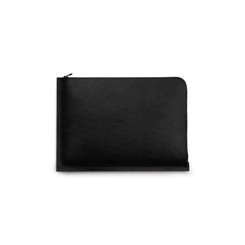 "C4 Leather Macbook 12"" Case Solid Black (Sample)"