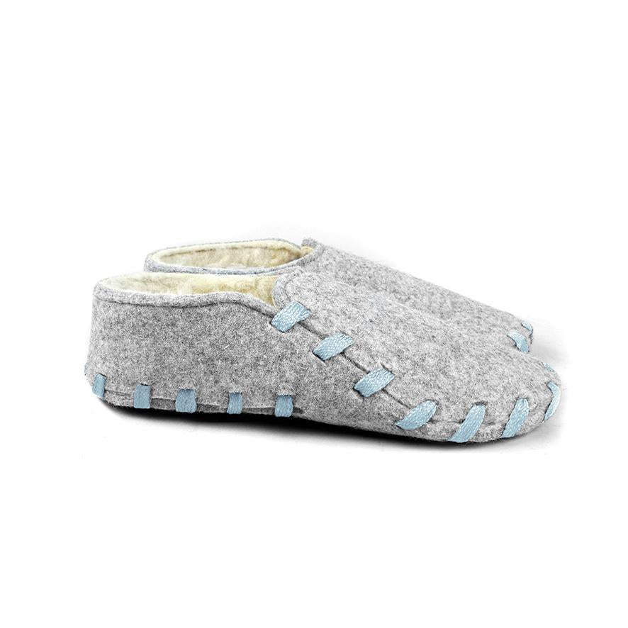Lasso Furry Slippers Grey&Light Blue