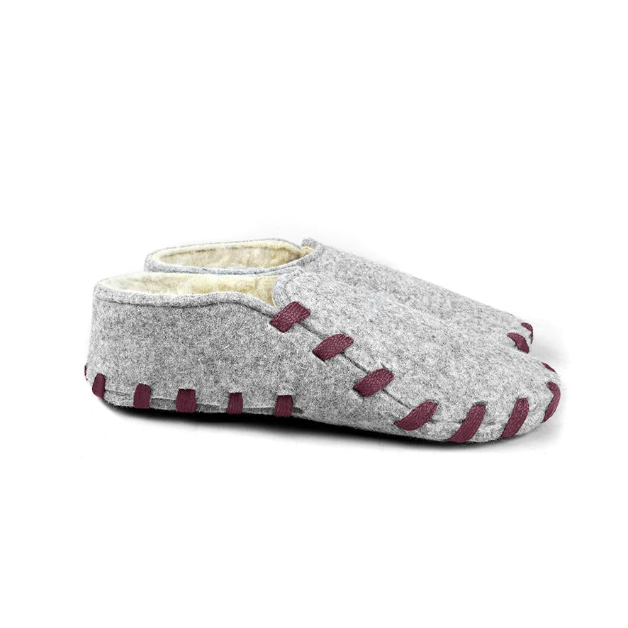 Lasso Furry Slippers Grey&Burgundy