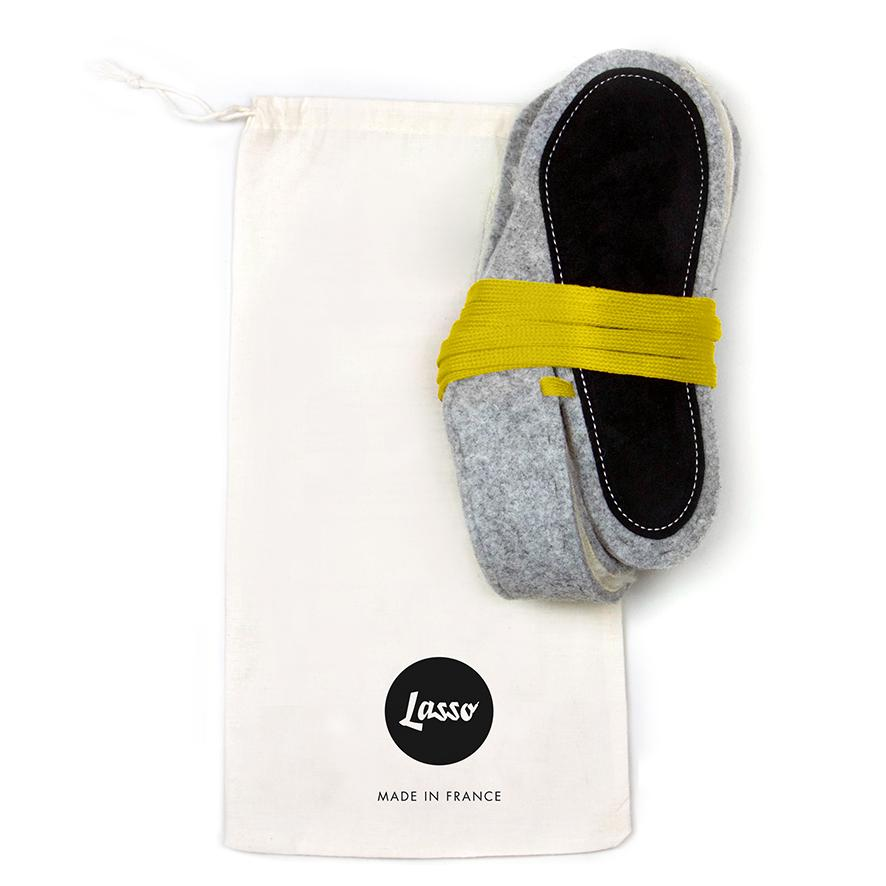 Lasso Furry Slippers Grey&Yellow