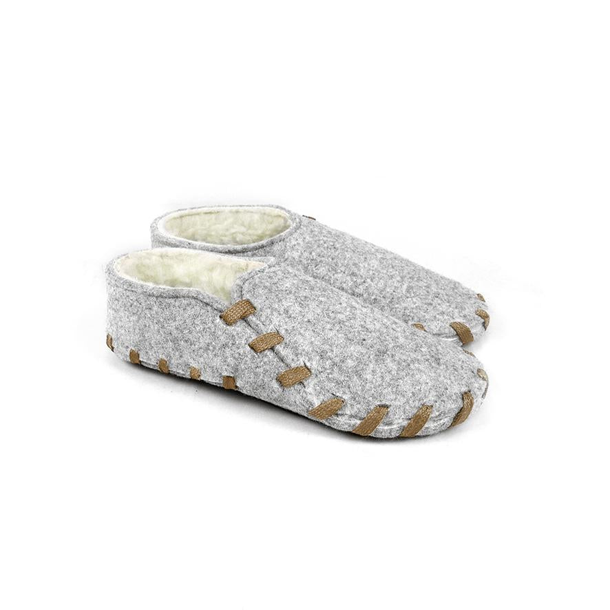 Lasso Furry Slippers Grey&Camel