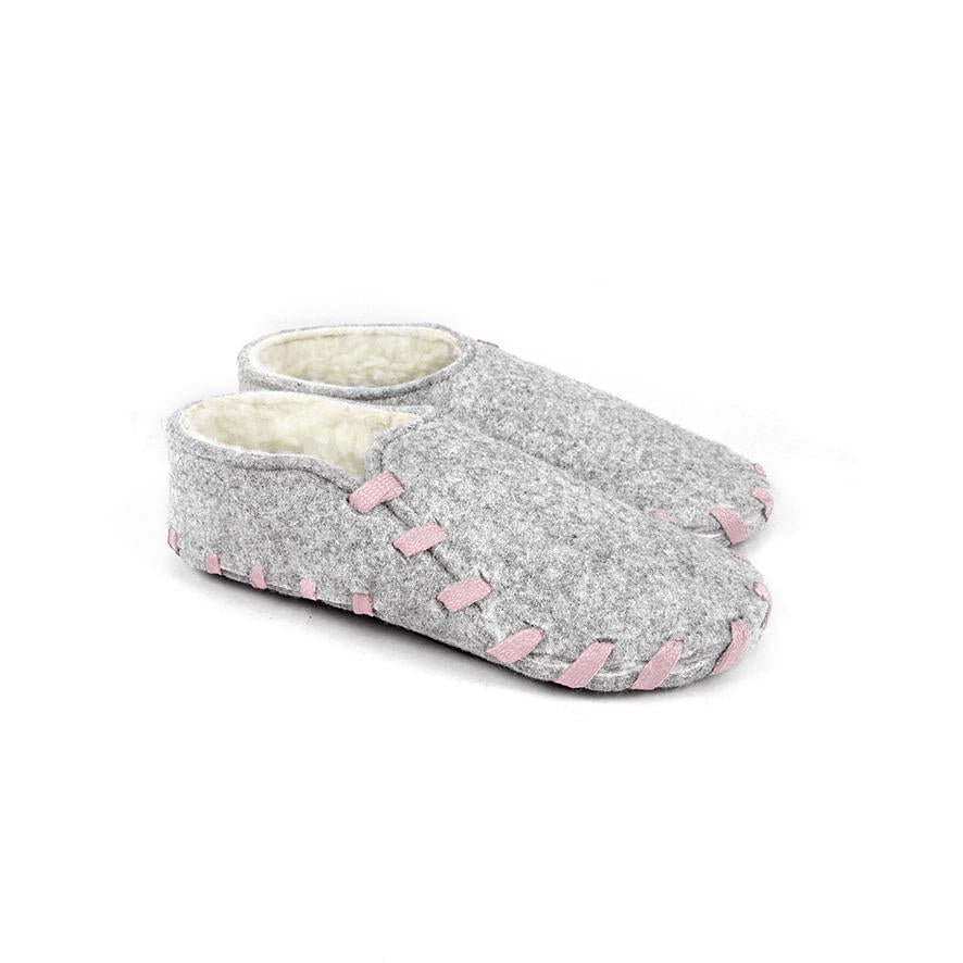 Lasso Furry Slippers Grey&Pink