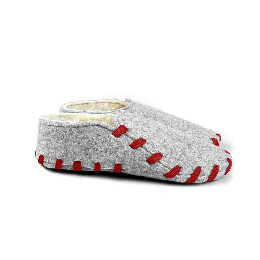 Lasso Furry Slippers Grey&Red