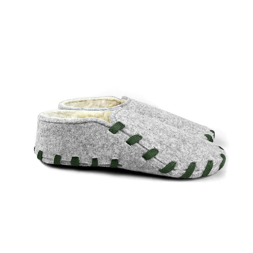 Lasso Furry Slippers Grey&Forest Green