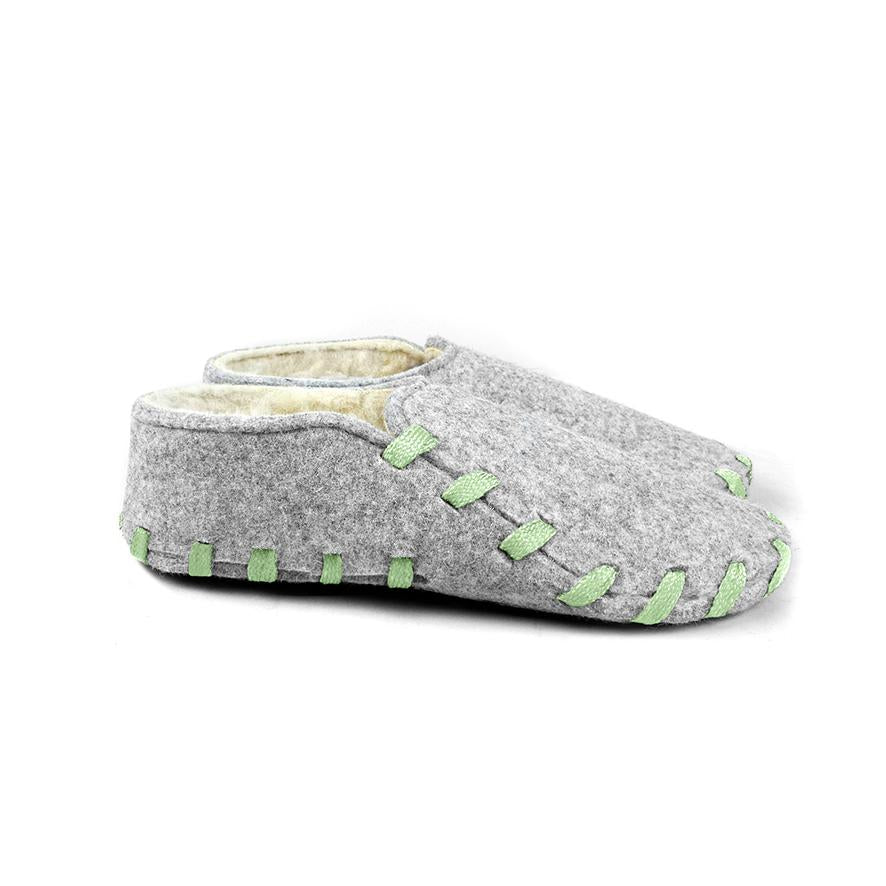 Lasso Furry Slippers Grey&Light Green