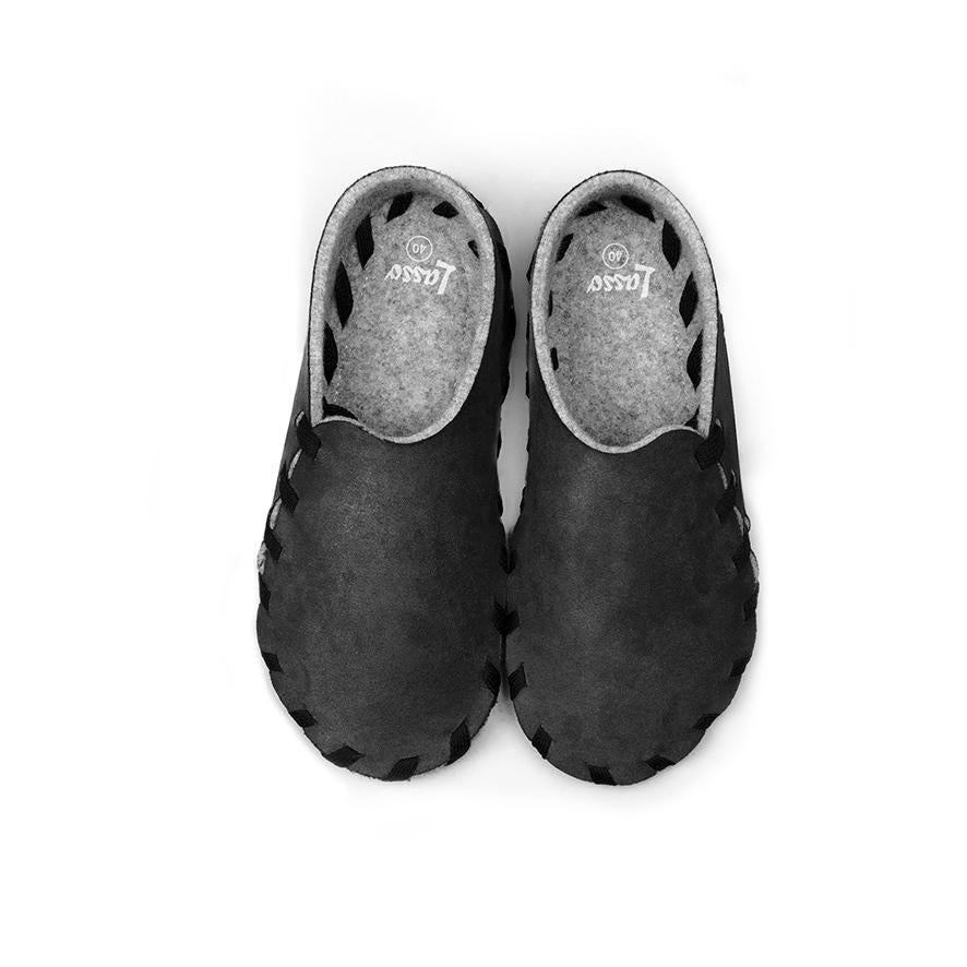 Lasso Nubuk Slippers in Black