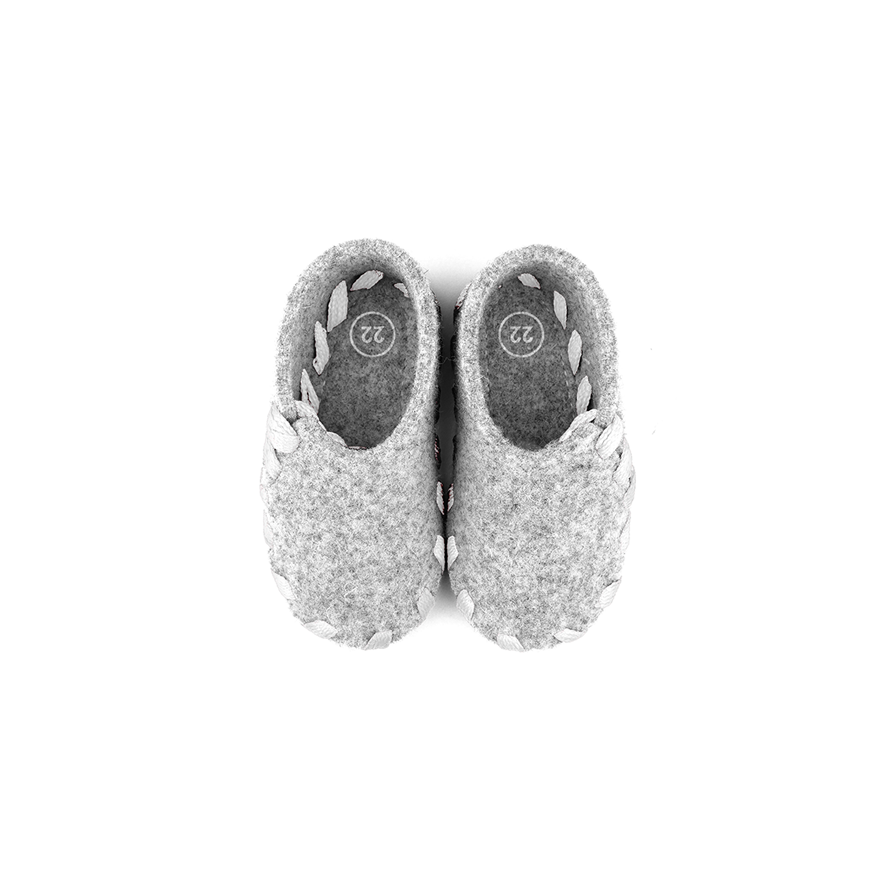 Lasso Baby Slippers Grey&White