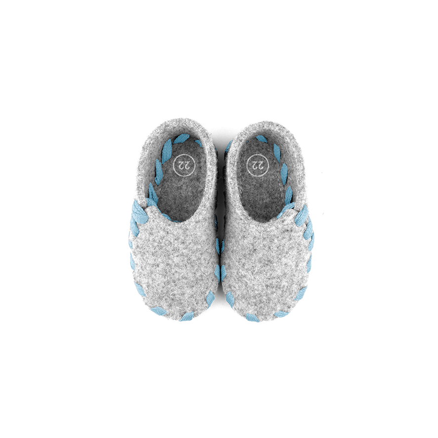 Lasso Baby Slippers Grey&Light Blue