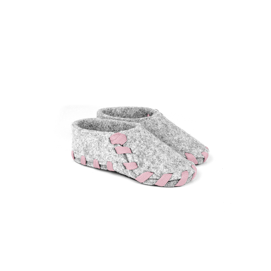 Lasso Baby Slippers Grey&Pink