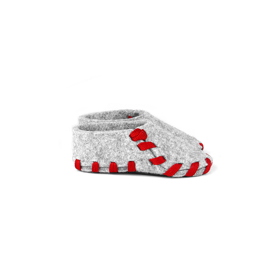 Lasso Baby Slippers Grey&Red