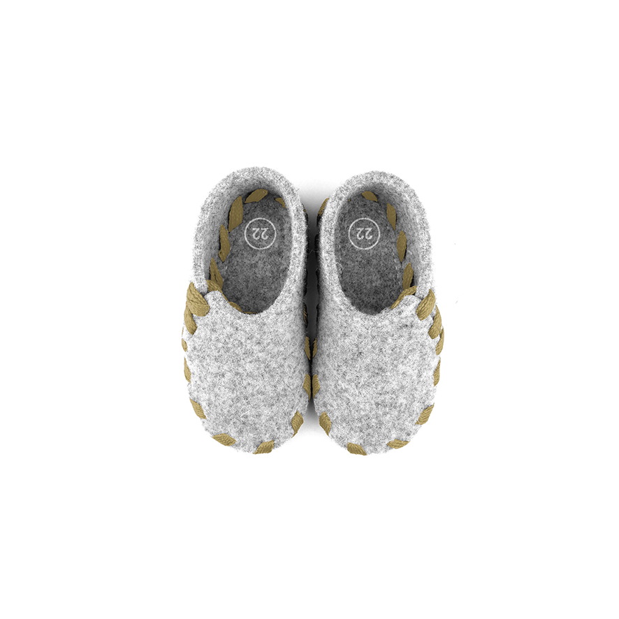 Lasso Baby Slippers Grey&Sand